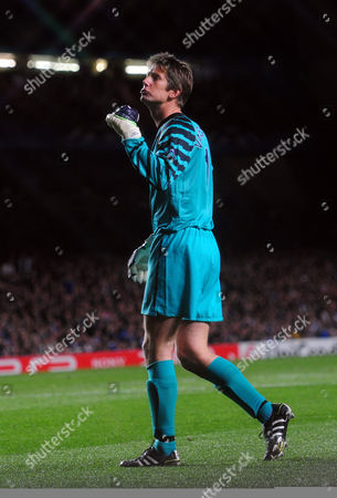 Stock Image of Goalkeeper Edwin van der Saar of Manchester United celebrates the opening goal