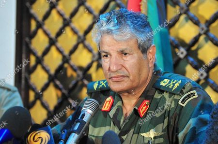 Editorial image of General Abdel Fattah Younes news conference, Benghazi, Libya - 05 Apr 2011
