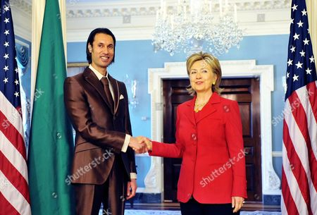 Editorial photo of Hillary Clinton meets Libyan National Security Advisor Mutassim Gadhafi at the US Department of State in Washington DC, America - 21 Apr 2009
