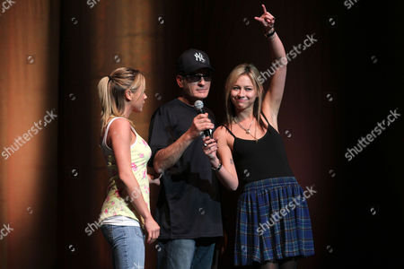 Charlie Sheen with the 'goddesses' Natalie Kenley and Rachel Oberlin