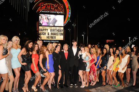 Hugh Hefner and Marston Hefner and Playboy Playmates