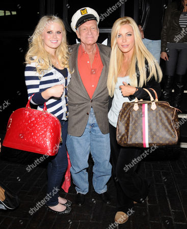 Playboy Playmate of the Month January 2011 Anna Sophia Berglund and Hugh Hefner and fiancee Crystal Harris