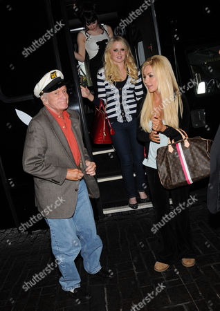 Hugh Hefner and Playmate of the Year 2011 Claire Sinclair and Playmate of the Month January 2011 Anna Sophia Berglund and fiancee Crystal Harris