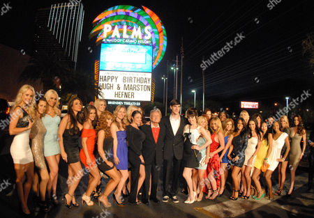 Stock Image of Hugh Hefner and Marston Hefner and Playboy Playmates