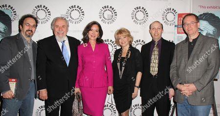 Robert Smigel, George Schlatter, Jolene Brand Schlatter, Paley Center President Pat Mitchell, Ben Model, Joel Hodgson