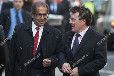 Dr Freddy Patel (L) arriving at the inquest