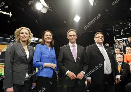 Social Democrats Chairwoman Jutta Urpilainen, Center Party Chairwoman Mari Kiviniemi, Chairman of the National Coalition Party Jyrki Katainen and Chairman of the True Finns Timo Soini