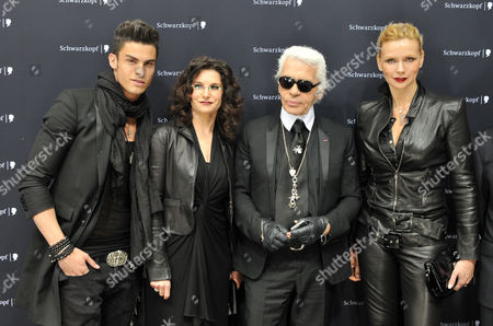 Stock Photo of Jean - Baptiste Giabiconi, Tina Muller, Karl Lagerfeld, Veronica Ferres