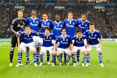 Schalke team group, (L-R) Manuel Neuer, Christoph Metzelder, Edu, Hans Sarpei, Benedikt Hoewedes, Joel Matip, front; Kyriakos Papadopoulos, Atsuto Uchida, Jose Manuel Jurado, Raul Gonzalez, Alexander Baumjohann