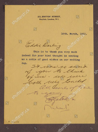 Stock Photo of Lot 567 - signed letter from Elizabeth Taylor to Eddie Mannix thanking him for a good wishes cable, 1952
