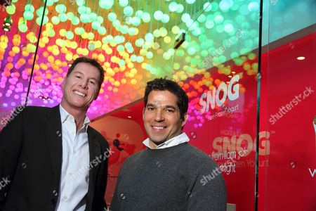 Stock Image of Rob Baines and Pablo Uribe founders and owners of Snog frozen yogurt shops.