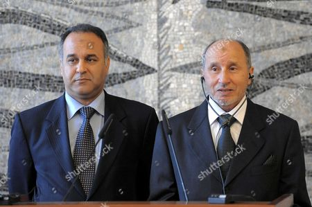 Editorial photo of Mustafa Abdul Jalil press conference, Rome, Italy - 19 Apr 2011