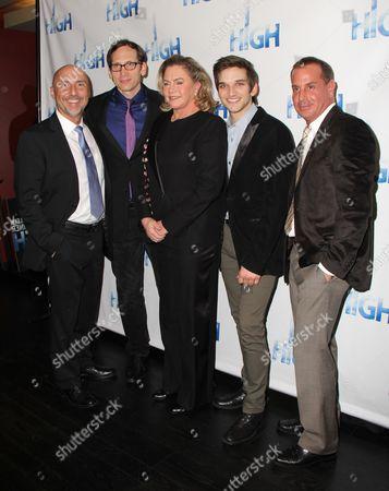 Director Rob Ruggiero, Stephen Kunken, Kathleen Turner, Evan Jonigkeit, Playwright Matthew Lombardo