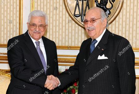 Palestinian President Mahmoud Abbas with Tunisian President Fouad Mebazaa