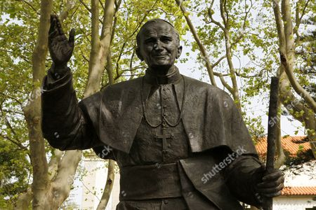 The statue of Pope John Paul II (1920 - 2005) in Cascais, Portugal. He was born as Karol Jozef Wojtyla in Poland was elected as the Pope of the Roman Catholic Church in 1978.