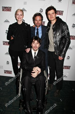 Stock Image of Laura Linney, director Mark Ruffalo, Orlando Bloom and Christopher Thornton