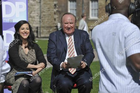 Daily Politics show moves out side due to a power cut at the BBC offices in Millbank - Andrew Neil and Anita Anand
