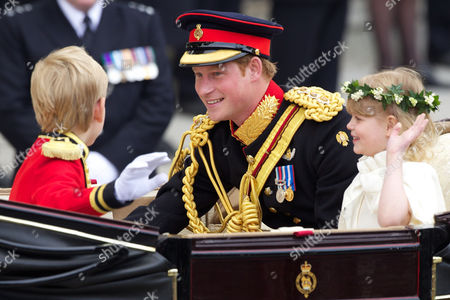 Stock Picture of Prince Harry with Bridesmaid Lady Louise Windsor and Pageboy Tom Pettifer