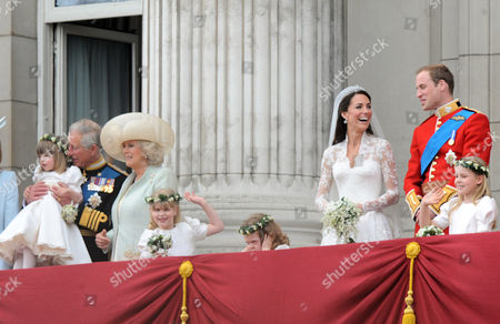 Prince Charles, Eliza Lopes, Camilla Duchess of Cornwall, Lady Louise Windsor, Grace Van Cutsem, Catherine Middleton, Prince William and Margarita Armstrong-Jones