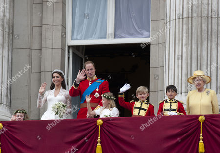 Catherine Middleton and Prince William with Bridesmaids Grace Van Cutsem and Margarita Armstrong-Jones and Pageboys Tom Pettifer and William Billy Lowther-Pinkerton and Queen Elizabeth II