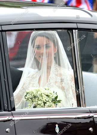 Catherine Middleton is driven to Westminster Abbey