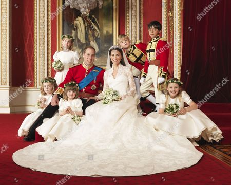Prince William Prince William with his bride Catherine the Catherine Duchess of Cambridge in the centre with attendants, (clockwise from bottom right) The Hon. Margarita Armstrong-Jones, Miss Eliza Lopes, Miss Grace van Cutsem, Lady Louise Windsor, Master Tom Pettifer, Master William Lowther-Pinkerton.