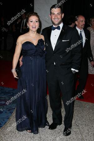 Stock Picture of Alyssa Milano and husband David David Bugliari