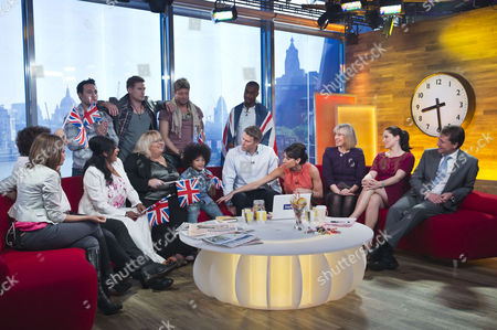 Presenters Dan Lobb and Christine Bleakley with guests Blue, Jane Willoughby, Pam Boon, Baxter Willoughby and Sue Jameson