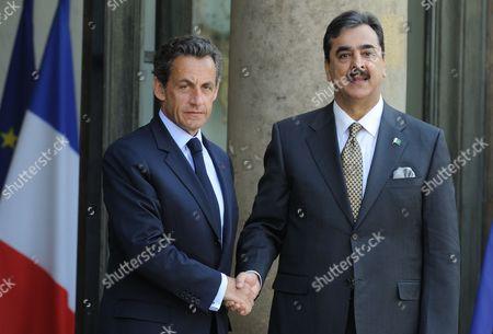 Nicolas Sarkozy and Pakistan Prime Minister Yousaf Raza Gillani