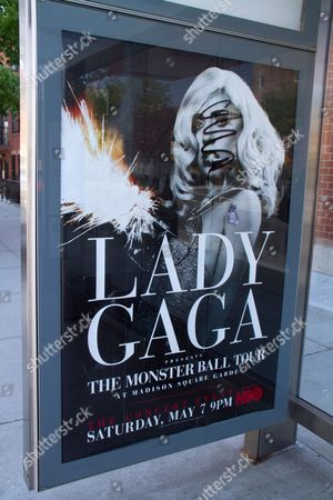 Stock Picture of Defaced Lady Gaga poster