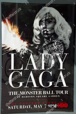 Editorial image of Lady Gaga posters defaced, New York, America - 09 May 2011