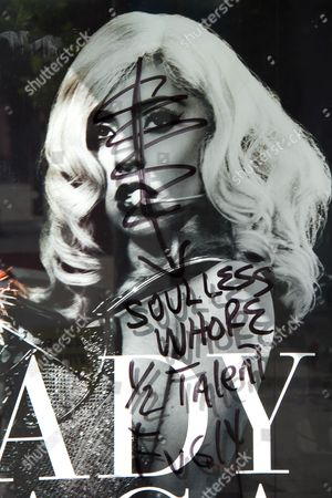 Stock Image of Defaced Lady Gaga poster