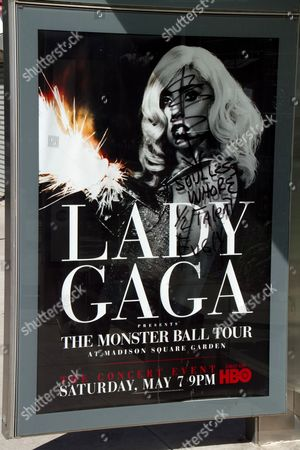 Editorial photo of Lady Gaga posters defaced, New York, America - 09 May 2011
