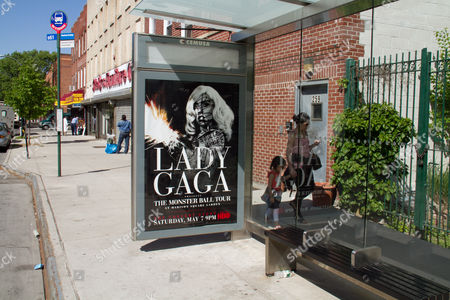 Editorial picture of Lady Gaga posters defaced, New York, America - 09 May 2011