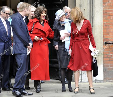 Funeral Of Christopher Cazanove At St. Paul's Covent Garden. Son Rhys Cazanove With Joan Collins Former Wife Angharad Rees And Partner Isabel Davis (r)