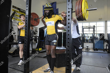 Paul Sackey On Weights. Wasps Rugby Club Media Day Ahead Of Saturdays St. Georges Day Game At Twickenham.