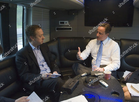 David Cameron On The Coservative Battle Bus Being Interviewed By Evening Standard Editor Geordie Grieg Picture Jeremy Selwyn