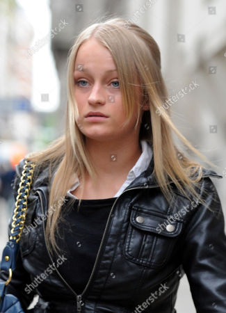 Stock Photo of Ruby Thomas 18 One Of The Accused In The Trafalgar Square Homophobic Murder Of Ian Baynham Leaves The Trial At The Old Bailey London.