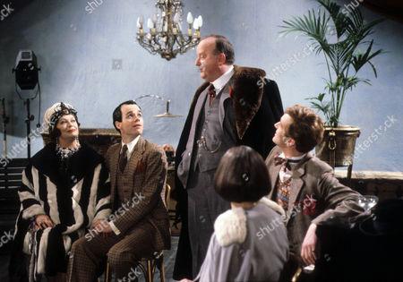 Margaret Courtenay as Lady Partlit, Simon Green as Jerry Jerningham, Harold Innocent as Lawrence Memsworth and Jeremy Nicholas as Inigo Jollifant