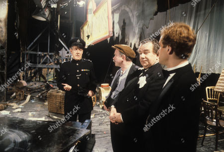 Robin Bailey as Police Inspector, John Stratton as Jess Oakroyd, John Blythe as Joe Brundit and Jeremy Nicholas as Inigo Jollifant