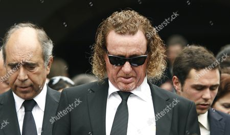 Miguel Angel Jimenez leaves the church after attending the funeral service held for Severiano Ballesteros