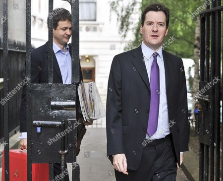 Chancellor of the Exchequer George Osborne (R) with Rupert Harrison his Chief of Staff