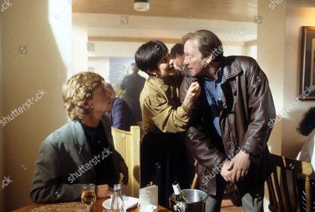 Dominic Jephcott as Roger Radcliffe, Jan Francis as Sally Hardcastle and Dennis Waterman as Thomas Gynn