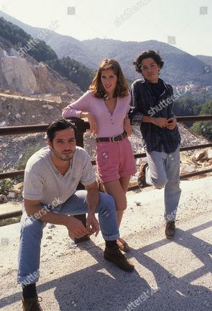 Stock Photo of Raffaele Buranelli as Dino, Natasha Hovey as Claudia and Marco Quaglia as Josepi