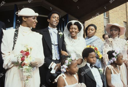 Stock Image of The wedding of Boney M's Liz Mitchell to Thomas Pemperton with Maizie Williams and Marcia Barrett, London