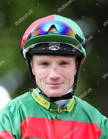 Stock Image of Frederik Tylickii, winning jockey of Common Touch in The Download the Blue Square iPhone App Stakes.