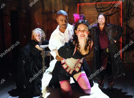 Stock Photo of 'The City Madam' - Liz Crowther (Secret), Nathaniel Martello-White (Goldwire), Pippa Nixon (Shave-em) and Christopher Chilton (Ding-em)