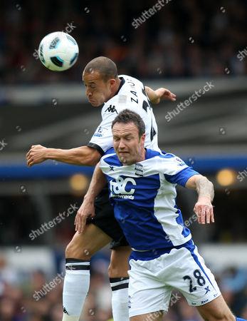 Bobby Zamora of Fulham and Martin Jiranek of Birmingham