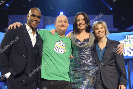 Presenter Davina McCall with Biggest Loser Winner Wil Graham after losing 8 stone 7 lb  Picture also shows Biggest Loser Trainers Richard Callender and Angie Dowds.