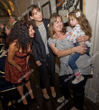 Jo Manuel (founder of The Special Yoga Centre) and Samantha Cameron with mum and user of the Special Yoga Centre Emma and her daughter India who has a condition which effects her pituitary gland